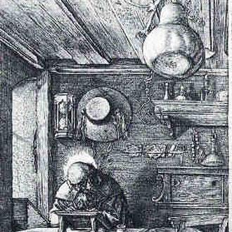 Albrecht Dürer, Hieronymus im Gehäus, im Detail: der aufgehängte Kürbis