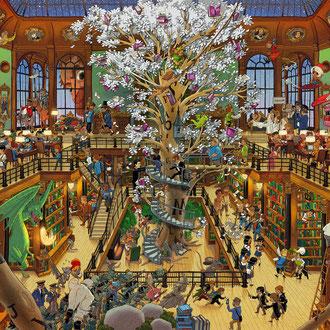 Lustige Wimmelbild Illustration für Puzzle, 1.500 Teile - Titel: Magische Bibliothek mit lebendigen Romanfiguren - Verlag: Heye/ KV&H