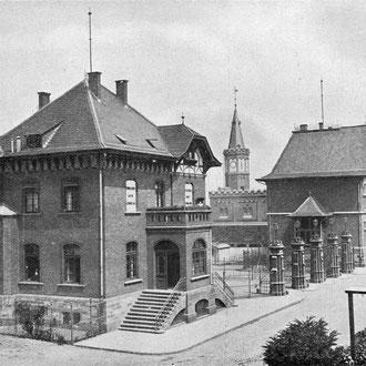 Ansicht Mülheimer Hafen Werftanlage, um 1909.