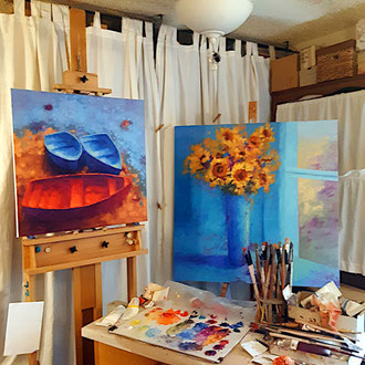 Studio. Where it all happens! (Left- Ocean Jewels, 24 x 24- SOLD. Right- Summer Symphony, 36 x 36, available.)