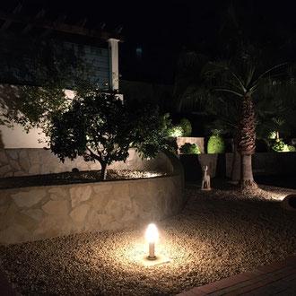Installation light in the garden