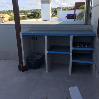 The base for a microcement outdoor kitchen