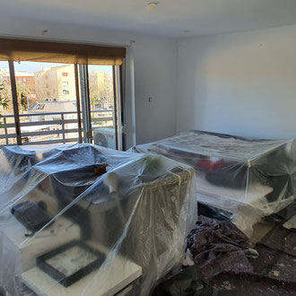 Preparations for painting job inside