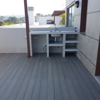 Microcement outdoor kitchen