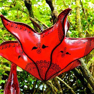Orientalische Lampe aus roten Glas in Blütenform - CASAORIENT Stuttgart