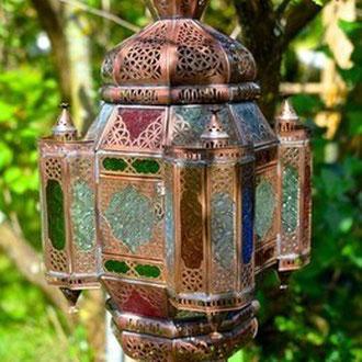 Orientalische Lampe mit Buntglas zum Aufhängen - CASAORIENT Stuttgart