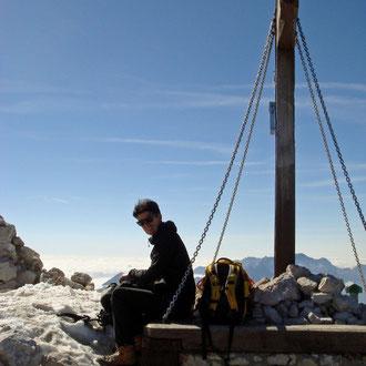 Gipfelfoto am Mangart