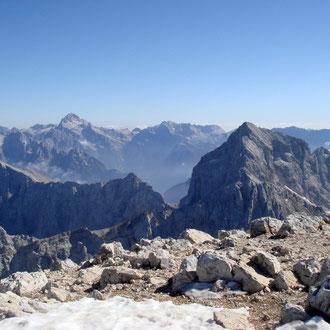 Blick vom Gipfel zum Triglav