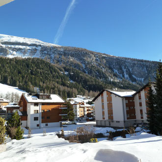 Blick Terrasse Appartement 103 im Winter