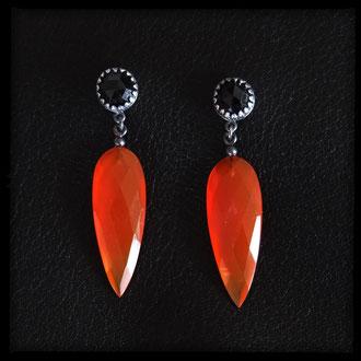 Neala Earrings - Orange Chalcedony Drops, Rose Cut Black Spinel