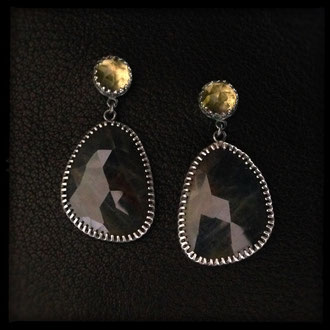Neala Earrings - Sterling Silver, Sapphire, Lemon Quartz