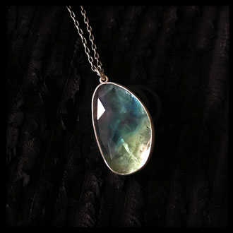 Secret Lake Pendant - Fluorite, Silver