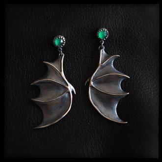 Dragon Wing Earrings - Sterling Silver, Green Onyx