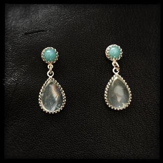 Neala Earrings - Sterling Silver, Aquamarine, Amazonite