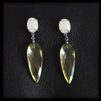 Lilith Earrings - Sterling Silver, Lemon Quartz, Sapphires