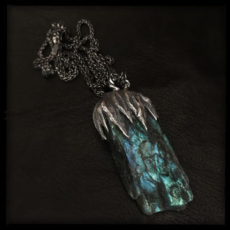 Seer Necklace - Raw Labradorite Crystal, Sterling Silver