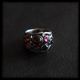 Small Medeina Ring - Sterling Silver, Garnet, Ruby, Carnelian