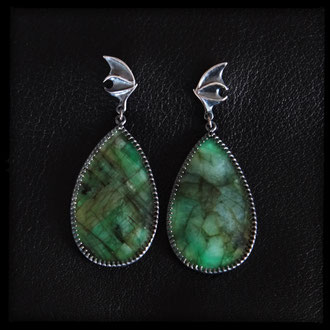 Baby Dragon Wing Earrings - Emerald, Sterling Silver