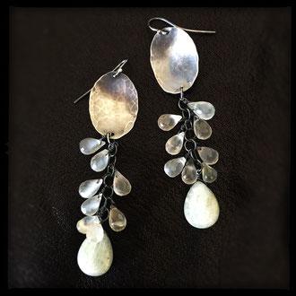 Sprite Earrings - Kyanite, Moonstone, Sterling Silver