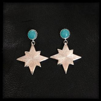 Starborn Earrings - Sterling Silver, Amazonite