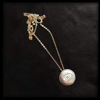 Truth Necklace - Sterling Silver Eye Pendant, Gold Chain