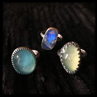 Neala Rings - Chalcedony, Moonstone, Silver