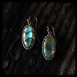Nepal Earrings - Sterling Silver, Labradorite