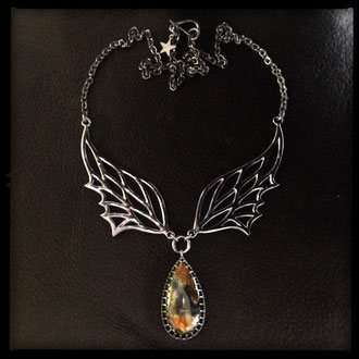 Fairy Wing Necklace - Sterling Silver, Labradorite