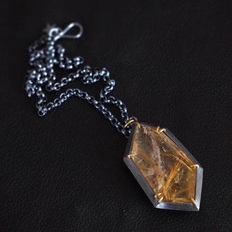 Auryn Necklace - Rutilated Quartz, Sterling Silver, 18K Yellow Gold