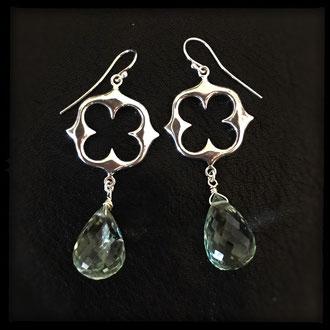 Magic Link Earrings - Sterling Silver, Green Amethyst