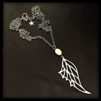 Fairy Wing Necklace - Sterling Silver, Opal