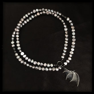 Khaleesi Necklace - Freshwater Pearls, Sterling Silver Dragon Wing