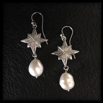 Starborn Earrings - Sterling Silver, Pearls