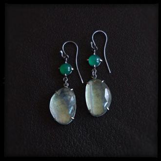 Lilith Earrings - Sterling Silver, Fluorite, Green Onyx