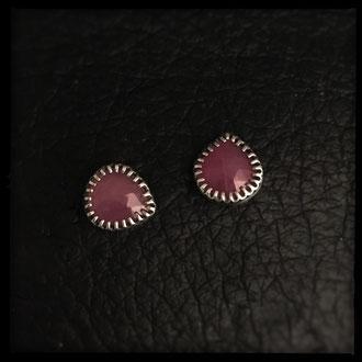 Neala Post Earrings - Sterling Silver, Ruby