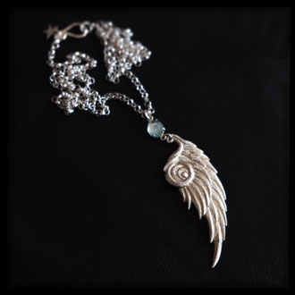 Pegasus Wing Necklace- Sterling Silver, Aquamarine