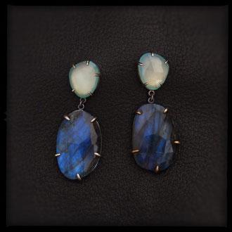Lilith Earrings - Sterling Silver, Labradorite, Aqua Chalcedony