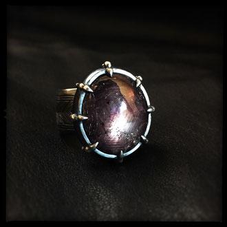 Dark Mirror Ring - Sterling Silver, Ruby