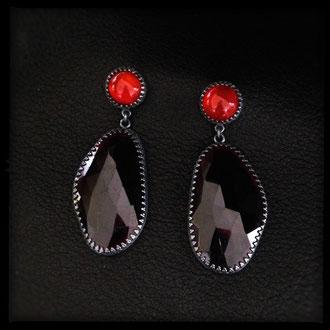 Neala Earrings - Sterling Silver, Garnet, Carnelian