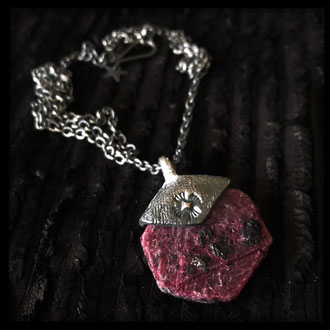 Raw Ruby Crystal Slice Pendant
