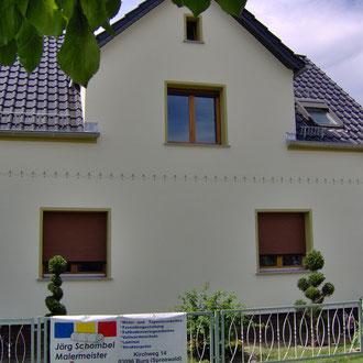 Individuelle Fassadengestaltung an einem Einfamilienhaus  · Malermeister Schombel · Cottbus · Burg