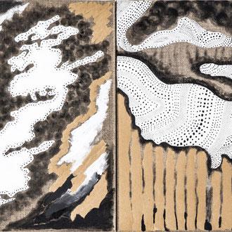 Wolken und Turbulenzen, Collage Papier, Acryl, Gouache auf Leinwand 30cmx40cm