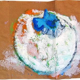 """""""caco non maturo"""" acrilici, tratto in carboncino e matita su foglio d'imballo (il retro del foglio del caco precedente) cm59x32"""