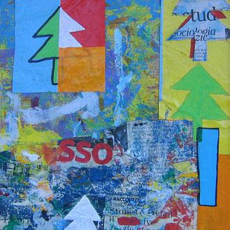 """""""luci di Natale""""acrilicie collage di carte su cartonecm25x31"""