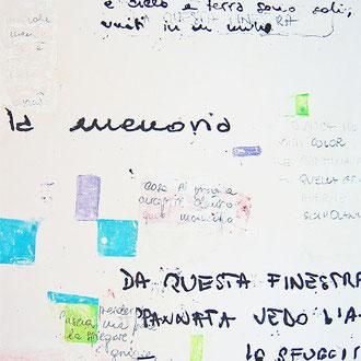 """""""Poesie su un muro"""" acrilici su gesso acrilico su tela cm....."""