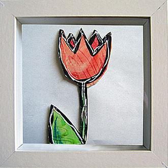 """""""fiori sotto vetro"""" (ritagli di cartone) acrilico cm16.5x16.5 (2)"""
