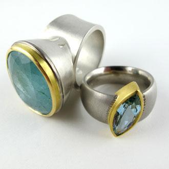 Aquamarin in silber und Feingold und Palladium und 900 Gold