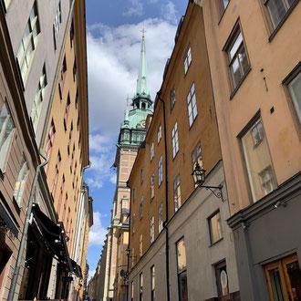 Die Altstadt von Stockholm im Frühling