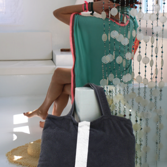 BYRH Strandtasche XXL - Dunkelgrau mit Streifen aus Frottee