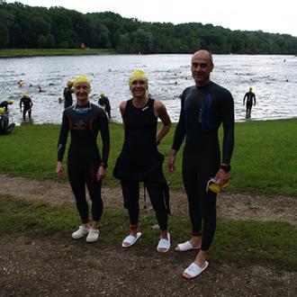 Daniela Fälschle, Jenny Stark und Bernhard Mayer vor ihrer ersten Olympischen Distanz